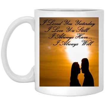Custom I Love You Mug, Valentines Gift Ceramic Coffee Cup With Comfort Grip Handle