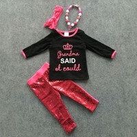grandma sequins outfit spring pant set long sleeve with matching necklace