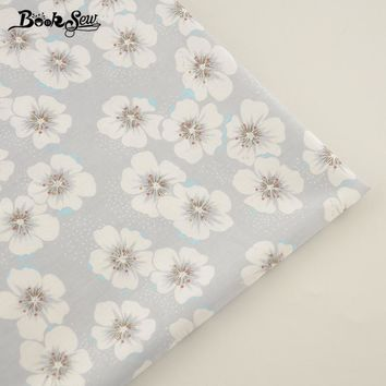 2017 100% Light Grey Cotton Twill Fabric China Plum Flowers Designs  Fat Quarter Home Textile Material Bed Sheet Qulting Tale