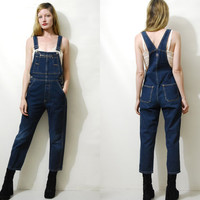 Denim Overalls 90s Vintage overalls Dark Blue Denim Dungarees Denim Coveralls Bib and Brace Grunge Hippie Boho 1990s vtg XS