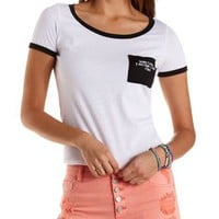 Mermaid Embroidered Ringer Pocket Tee by Charlotte Russe