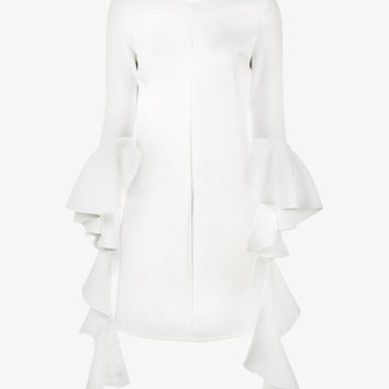 CREW NECK DRAPED RUFFLE SLEEVE DRESS