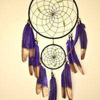 Large  Dream Catcher, Purple  Black Dream Catcher, Feather  Boho Dreamcatcher Decor, Wall Hanging Bedroom Decor