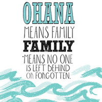 Lilo and stitch inspirational quote poster... ohana.. digital file