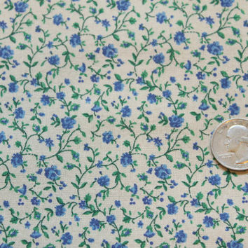 Calico Fabric/Floral Vine/Dollhouse Fabric/Miniature/Blue/Green/Camel/Fabric by the Yard/Half Yard/Quarter Yard/Fat Quarter/PRICES VARY