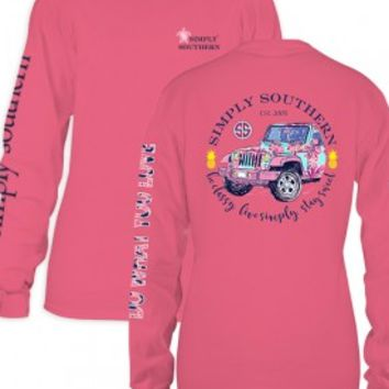 "Simply Southern ""Jeep"" Long Sleeve Tee-Pink"