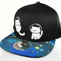 Blue Galaxy Space Cats Snapback Trucker Cap Hat