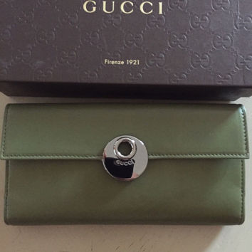 NWT Gucci Women's Genuine Leather Wallet Green Italy