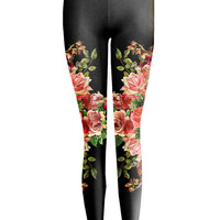 Floral Mirror Black Leggings