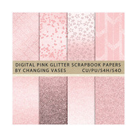 Digital Scrapbook Paper Pack, Light Baby Pink Glitter Paper, Texture Graphics, Overlay Clipart Clip Art, Photo Background