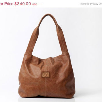 Brown leather bag, Soft leather bag, Large leather tote bag, Tan leather bag, Beautiful handmade screen printed lining / Tami bag