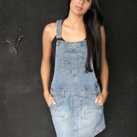 90s grunge denim overall dress s m - blue jean mini skirt coverall jumper pockets - punk rock club kid raver my so called life - xs sm med