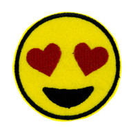 Love Heart Eyes Emoji Patch Iron on Applique Alternative Clothing I Love You DIY
