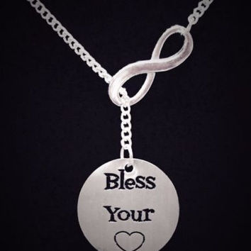 Infinity Bless Your Heart Southern Country Saying Quote Lariat Necklace