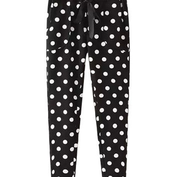 Black Polka Dot  Lace-Up Pants