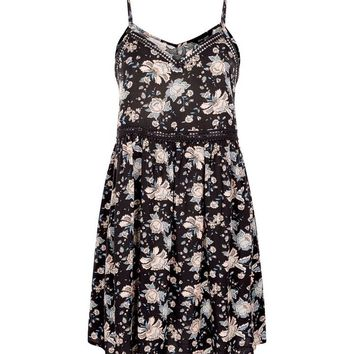 Black Folk Floral Crochet Trim Sundress | New Look
