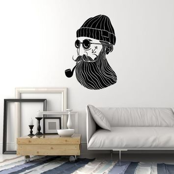 Vinyl Wall Decal Old Captain Sailor Ocean Nautical Decor Room Art Stickers Mural (ig5496)
