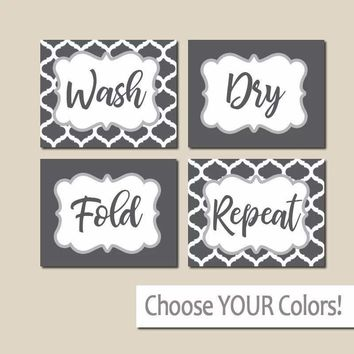 Gray LAUNDRY Wall Art, Laundry Room Decor, Laundry Room Sign Canvas or Print Wash Dry Fold Repeat, Laundry RULES, Laundry Quote, Set of 4