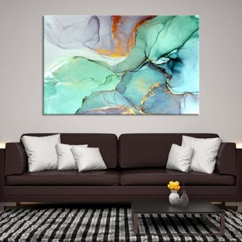 71530 - Modern Wall Art | Abstract Bedroom Print | Office Painting | Large Wall Art | Large Abstract Canvas | Big Teal Blue Print | Ink Painting Art