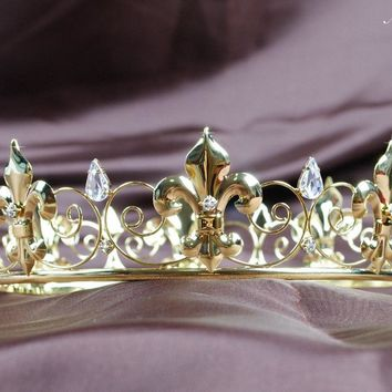 Imperial Medieval Full Circle Round Crown Gold Tone Tiara Clear Crystal Wedding Bridal Pageant Party Prom Headband