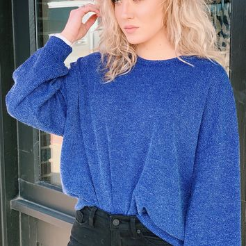 Brushed Corduroy Puff Sleeve Sweater {Cobalt}