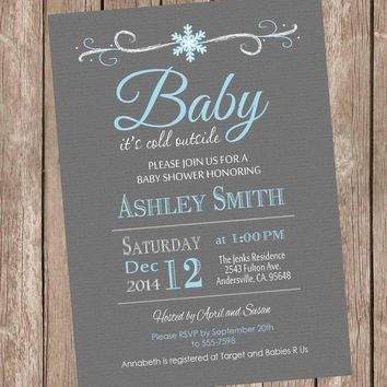 Baby it's cold outside baby shower invitation, winter baby shower, snowflake invitation, gray and blue, boys winter, printable invite sf1