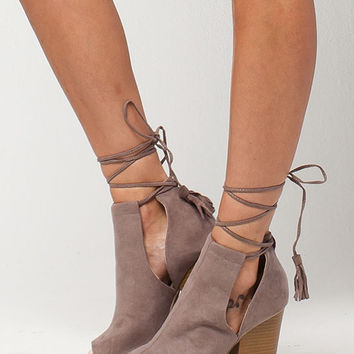 QUPID Peep Toe Wrap Womens Bootles | Boots + Booties