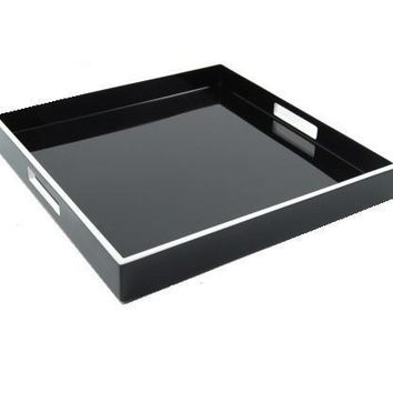 Black Lacquer with White Trim Serving Tray 22 x 22