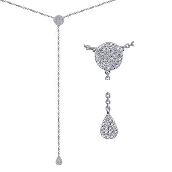 Lafonn Classic Sterling Silver Platinum Plated Lassire Simulated Diamond Necklace (0.55 CTTW)