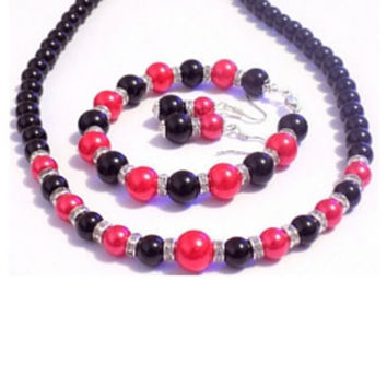 Black red pearl necklace set