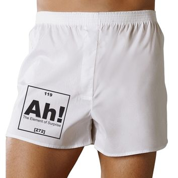 Ah the Element of Surprise Funny Science Boxers Shorts by TooLoud