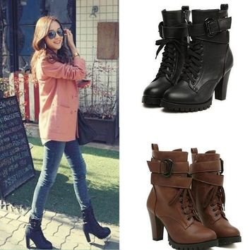 Black Lace Up Faux Leather Women Motorcycle Shoes High Heels Ankle Martin Boots = 1697