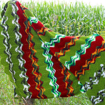 Vintage 70s Crocheted Afghan Blanket ZigZag Knitted Blanket Rainbow Yarn Bedding Yellow Burgundy White Green Granny Blanket