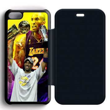 kobe bryant go lakers leather wallet flip case iphone 5c  number 1