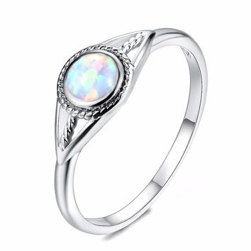 STYLEDOME Vintage Silver White/Blue/Purple Round Fire Opal Rings anillos Sterling-Silver 925 Finger Ring Women Jewelry