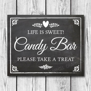 Chalkboard Wedding Sign, Printable Wedding Sign, Chalkboard Wedding Candy Bar Sign, Wedding Decor, Instant Download