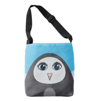 Geometric Cute Cartoon Big Eyed Penguin Kids Crossbody Bag