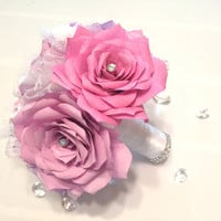 Bridal bouquet in shades of lavender and lilac handmade paper Roses for your wedding day, Lovely wedding bouquets in shades of purple