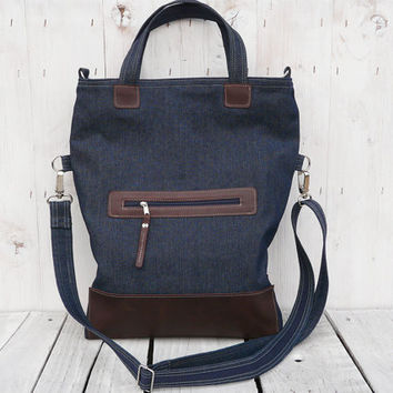 canvas bag  tote bag leather bag foldover bag crossbody bag brown blue two tone tote Gift for her
