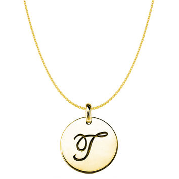 """""""T"""" 14K Yellow Gold Script Engraved Initial Disk Pendant"""