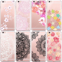 Watercolor Vintage Flower Phone Cases For iphone 6 6S Mandala Henna Floral Paisley Transparent Silicone Phone Back Cover