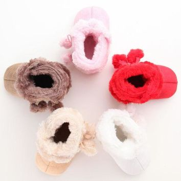 Newborn Toddler Baby Girls Snow Shoes Winter Toddler Infant Cute Stiching Warm Kids Girl Plush Sole Crib Shoes Boots  moccasins