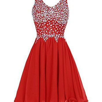 Women's Straps Prom Dresses Short Chiffon Beading Homecoming Formal Gowns