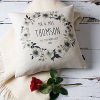 Floral Mr And Mrs Personalised Cushion Cover