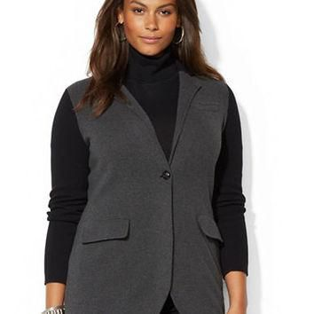 Lauren Ralph Lauren Plus Color Blocked Sweater Coat