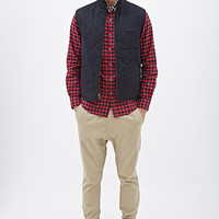 Quilted Bomber Vest Navy