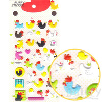 Chicken Hen Rooster Bird Shaped Puffy Stickers | Cute Animal Inspired Scrapbook Decorating Supplies