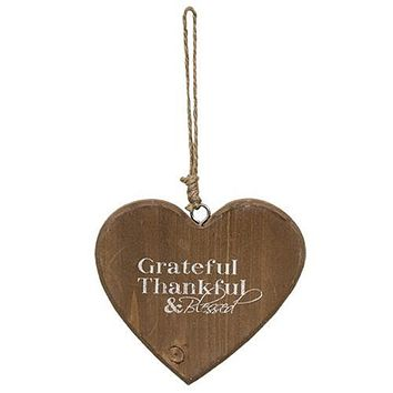 Grateful Thankful & Blessed Heart Wood Ornament