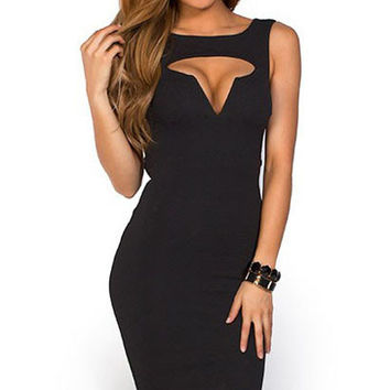 Black Sleeveless Cut Out Mini Bodycon Dress