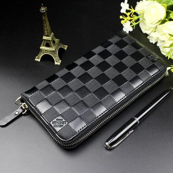 Fashion Plaid Zipper Long Wallet Men Designer Brand Leather Coin Purse Male Clutch Large Capacity Dollar Price Phone Wallet